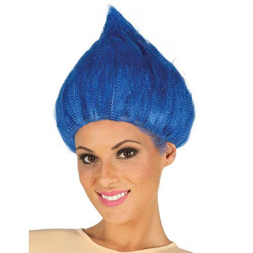 Vegaoo Witzige Troll Perücke für Erwachsene blau