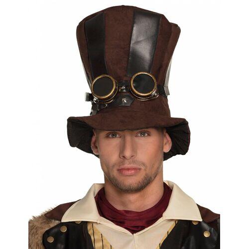 Vegaoo Gestreifter Steampunk-Hut für Erwachsene