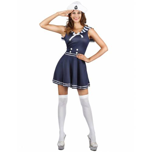 Vegaoo Süsses Matrosen-Kostüm für Damen Seefahrerin blau-weiss - M