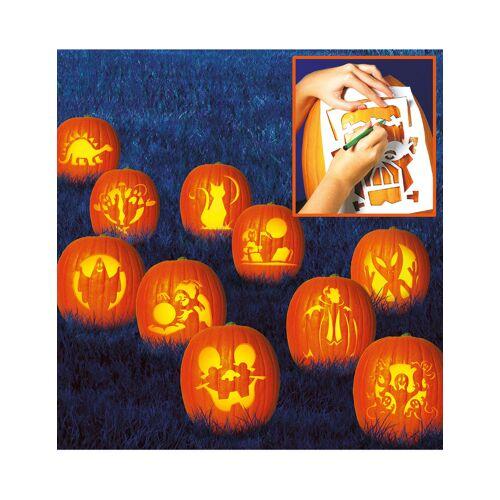 Vegaoo Kürbis-Schablonen-Set für Halloween 10 Stück 27x19cm