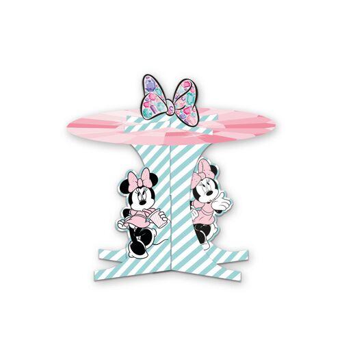 Vegaoo Minnie Maus-Cupcake-Aufsteller Tischzubehör Kindergeburtstag rosa-türkis