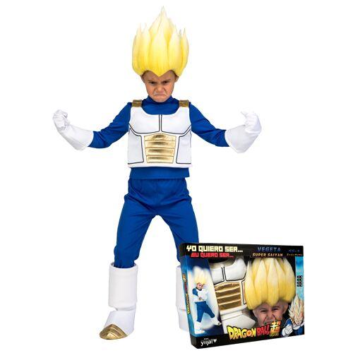 Vegaoo Super Saiyan Vegeta Dragon Ball-Lizenzkostüm für Kinder blau-weiss-gold - 122 (10-12 Jahre)