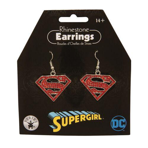 Vegaoo Supergirl-Ohrringe für Damen Schmuck rot