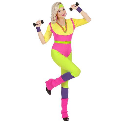 Vegaoo 80er Jahre Aerobic-Damenkostüm Sportler-Kostüm für Karneval bunt - XS