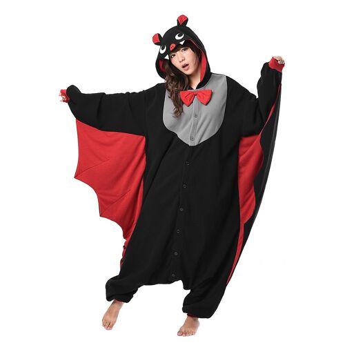 Vegaoo Kigurumi-Fledermaus-Kostüm für Erwachsene schwarz-grau-rot - M / L