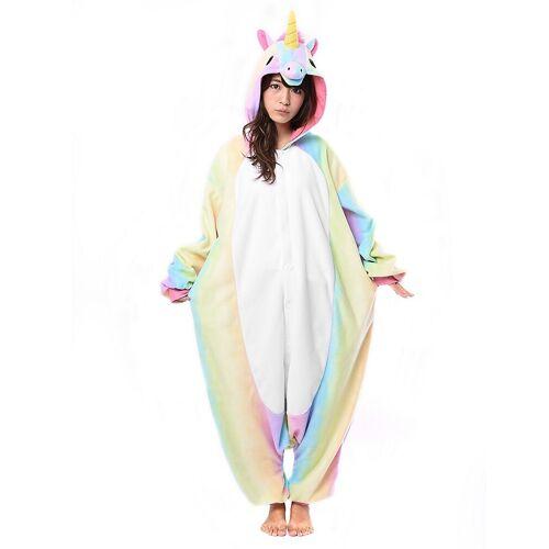 Vegaoo Farbenfrohes Einhorn Kigurumi-Kostüm für Erwachsene bunt - M / L