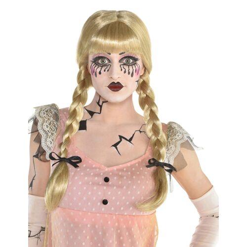 Vegaoo Puppen-Perücke zwei geflochtene Zöpfe blons für Erwachsene