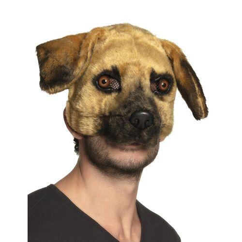 Vegaoo Realistische Hunde-Maske für Fasching Tiermaske braun