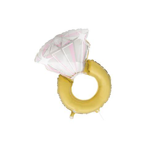 Vegaoo Folienballon-Verlobungsring Hochzeits-Dekoration gold-weiss 81 cm
