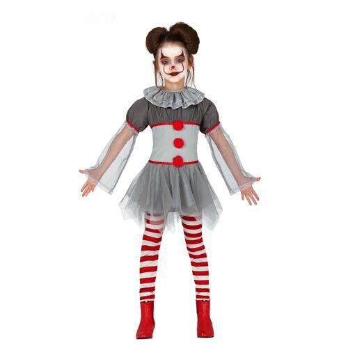 Vegaoo Grusel-Clown-Kostüm für Mädchen grau-rot - 110/116 (5-6 Jahre)