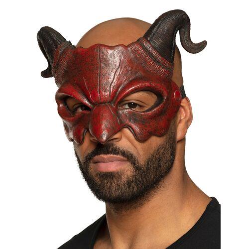 Vegaoo Augenmaske Dämonen-Halbmaske Kostüm-Accessoire rot-schwarz