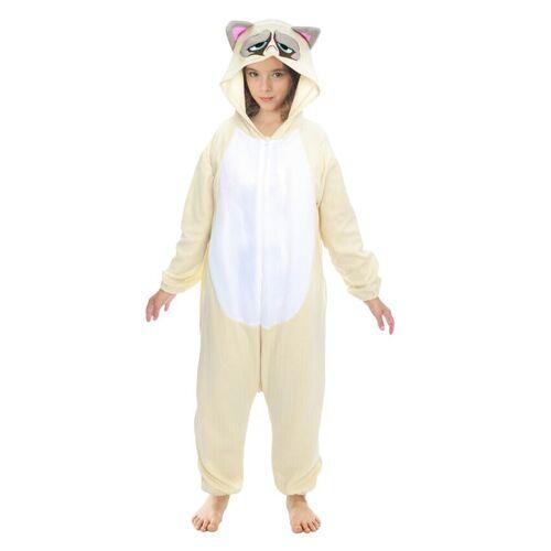 Vegaoo Grumpy Cat-Overall Kostüm für Kinder Tier-Overall beige-grau - 152 (11-12 Jahre)