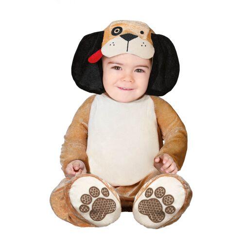 Vegaoo Hundekostüm für Babys Tier-Overall für Karneval beige-braun - 80/86 (6-12 Monate)