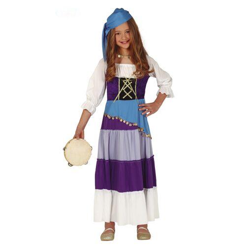 Vegaoo Zigeunerin Kostüm für Mädchen blau-violett-weiss - 110/116 (5-6 Jahre)