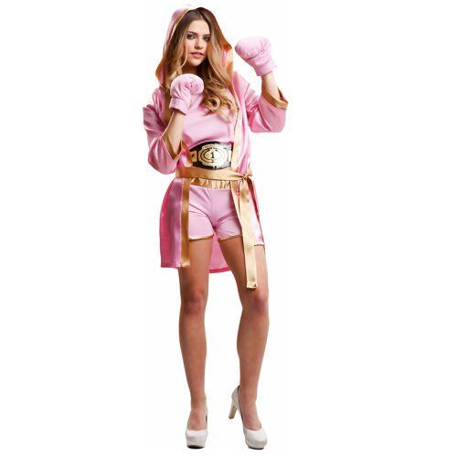 Vegaoo Boxer-Outfit für große Mädchen Sportlerin-Kostüm für Damen rosa-goldfarben - M / L