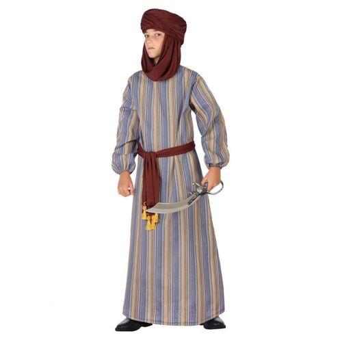 Vegaoo Arabisches Prinzenkostüm für Kinder Faschings-Verkleidung braun-blau - 134/146 (7-9 Jahre)