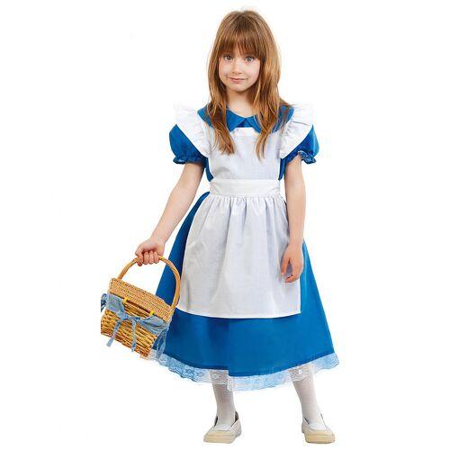 Vegaoo Märchen Wunderland-Kostüm für Märchen Faschings-Verkleidung blau-weiss - 110/116 (5-6 Jahre)