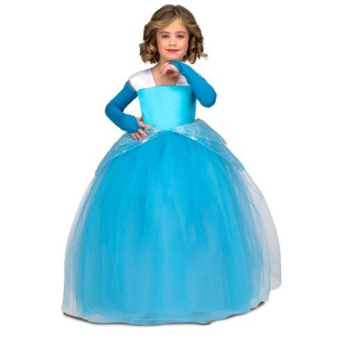 Vegaoo Prinzessinnen-Kostüm für Kinder Ballkleid blau - 110 (7-9 Jahre)