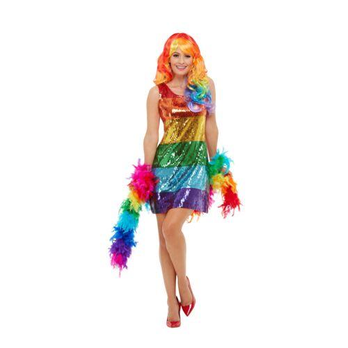 Vegaoo Regenbogen-Kleid Pailletten bunt - S