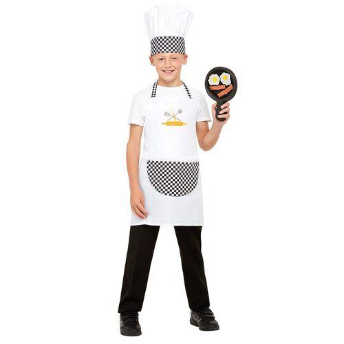 Vegaoo Lustiges Koch-Kostüm Berufs-Uniform für Kinder inkl. Pfanne weiss-schwarz - 134/146 (7-9 Jahre)