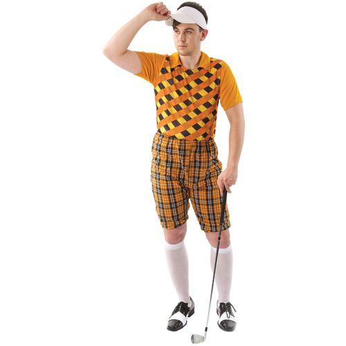 Vegaoo Golfer-Kostüm Sportler-Kostüm für Fasching orange-braun - XL