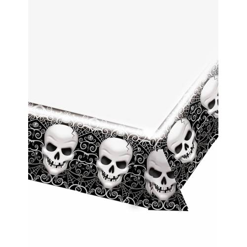 Vegaoo Unheimliche Totenkopf-Tischdecke Halloween-Deko schwarz-weiß 137 x 259 cm