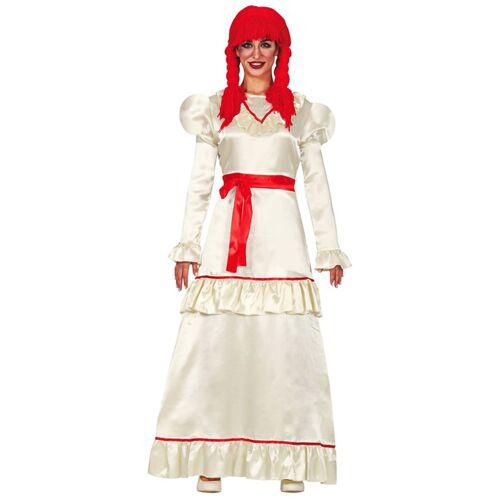 Vegaoo Besessene Puppe Damenkostüm für Halloween weiß-rot
