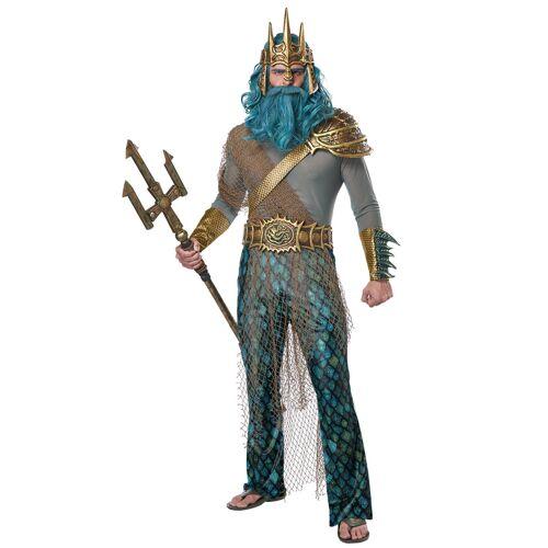 Vegaoo Poseidon Meeresgott-Kostüm für Karneval grau-blau - XL