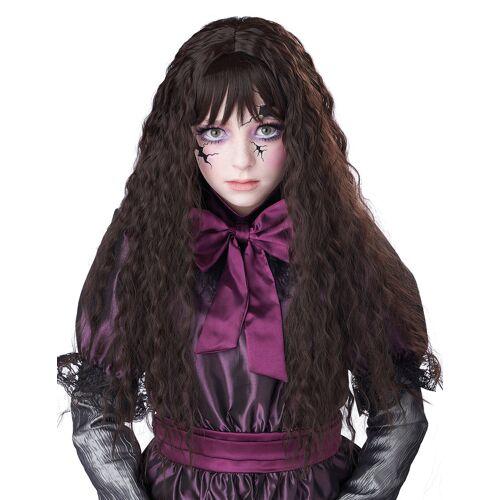 Vegaoo Puppen-Perücke Horrorpuppe für Halloween langhaarig für Kinder dunkelbraun