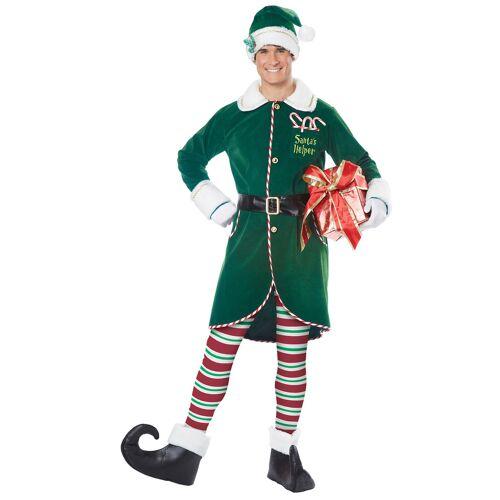 Vegaoo Weihnachtself-Kostüm für Herren Weihnachten grün-weiss-rot - S / M