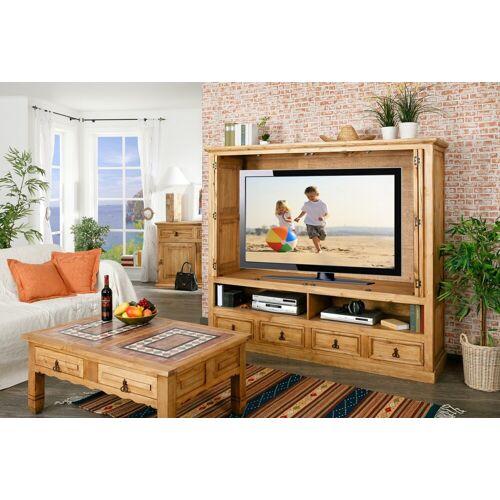 1a Direktimport Großer TV-Schrank Fernsehschrank, versenkbare Türen, original MEXICO Möbel, Pinie massiv