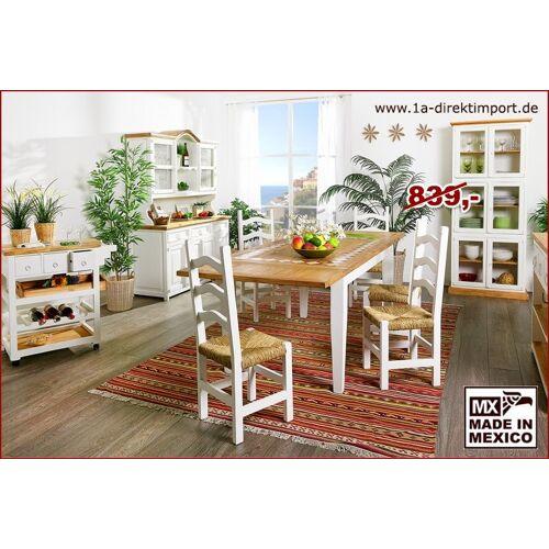 1a Direktimport MEXICO Esstisch Tisch, Pinie, Marmor Mosaik, weiß + natur, Landhausstil