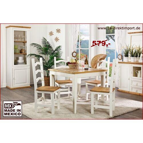 1a Direktimport MEXICO Esstisch Tisch, Holz: Pinie, Marmor Mosaik, weiß + honig, Landhausstil