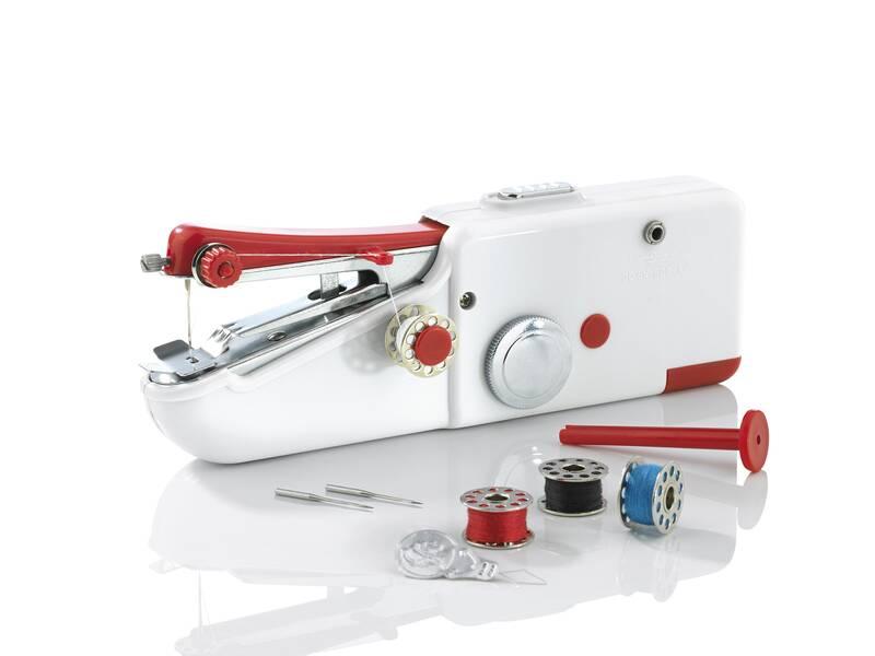 Easymaxx Mini-Hand-Nähmaschine, Weiß/ Rot
