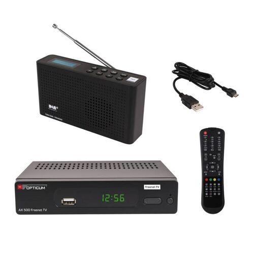 OPTICUM DAB+ Freenet Set mit Freenet DVB-T2 Full HD Receiver und DAB+ Radio