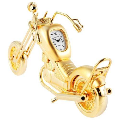 Royaltime Miniaturuhr mit goldfarbigen Motorradmotiv und Quarzwerk