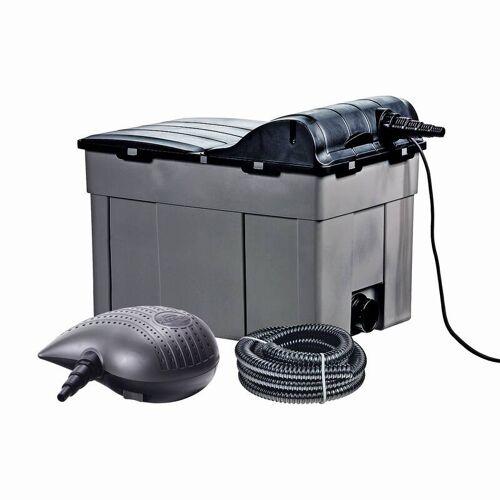 Heissner Teichfilter-Komplett-Set FPU16000-00 mit 3 Kammern, 18 Watt UVC-Teichklärer & Filterpumpe, für Teichgrößen bis 16.000