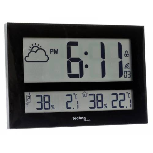 Techno Line Wanduhr WS 8011 mit Jumbo LCD-Anzeige