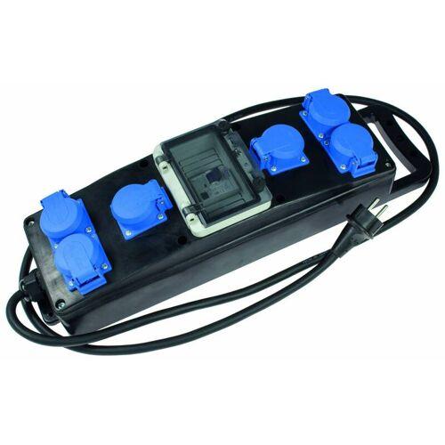 AS Schwabe Vollgummi-Steckdosenleiste S1+ H07RN-F 3G2,5, 2m, 230V, 6 Schutzkontaktsteckdosen 230V, 16A, mit Absicherung