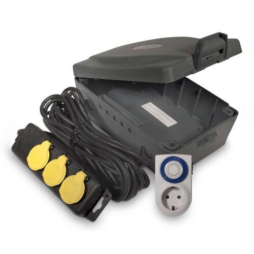 Masterplug Outdoor Elektro-Box XXL mit Steckdosenleiste und Zeitschaltuhr