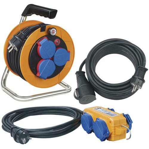 Brennenstuhl Power-Pack-Set IP44 / Kabeltrommel 10m, Verlängerungskabel 10m und 4-fach Verteiler 5m