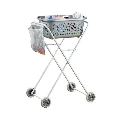 Ergonomischer Wäschekorb-Trolley, Rollwagen, Weiß