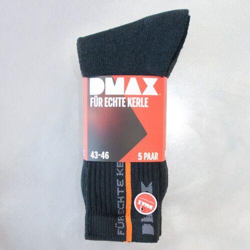 DMAX Socken im 5er Pack, Für Echte Kerle! Farbe schwarz/silber, Gr.43/46