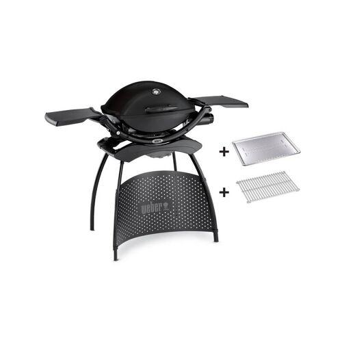 Weber Gasgrill Q 2200 Stand, Black, mit Hitzeschild und Bratenrost