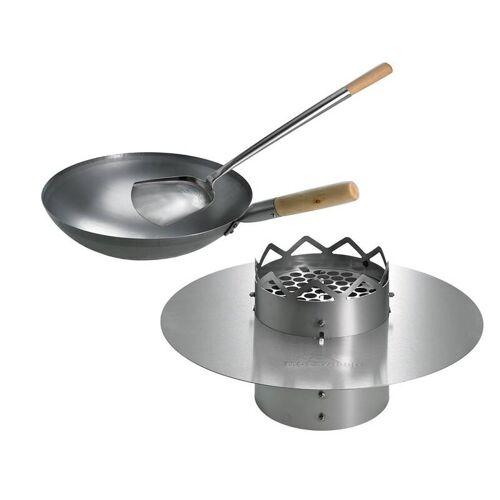 Moesta WOK N BBQ Komplettpaket - für Kugelgrill (57cm) inkl. Stahlwok, Ablagering und Woklöffel