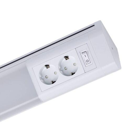 Müller Licht LED Unterbauleuchte in weiß mit 2 Steckdosen, 762mm