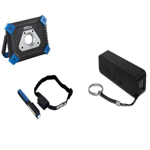 Wetelux COB-LED AKKU FLUTER mit Powerbank + Arbeits- und Stirnleuchte + Powerbank