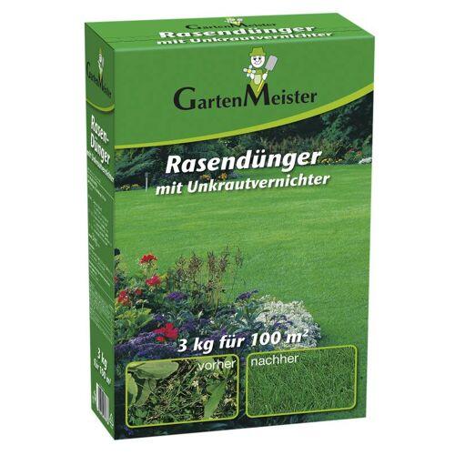 GartenMeister Rasendünger mit Unkrautvernichter, 3 kg für ca. 110 m²