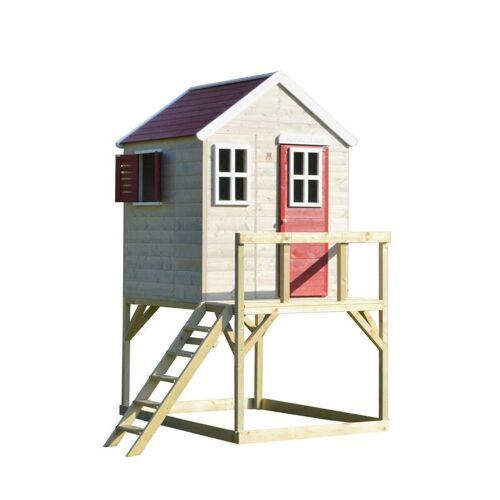 """Garten-Spielhaus """"Storch"""", Holz, Rot/ Natur, 160 x 190 x 242 cm"""