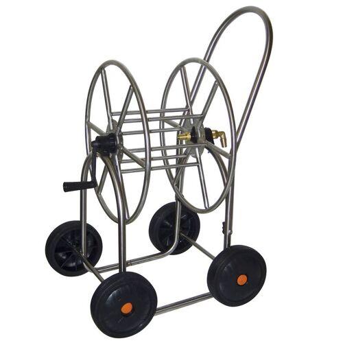 Agrati Schlauchwagen aus Edelstahl, mit 4 Rädern